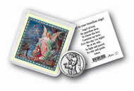 """Guardian Angel Pocket Coin with Gold Stamped Holy Card. Packaged in a Clear Soft Pouch 3"""" x 3"""""""