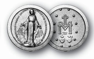 """1.125"""" Miraculous Medal Pocket Coin with Antique Silver Finish"""