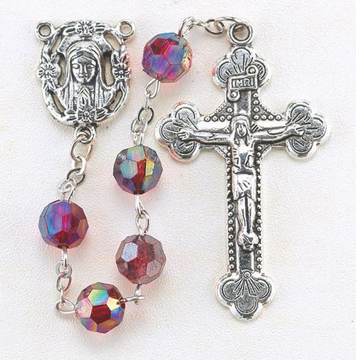 """January - Garnet  These 8mm aurora borealis faceted acrylic beads are available in each birthstone month color. Rosaries are 20"""" long. Rosaries have a silver oxidised Madonna centerpiece and Crucifix.  Perfect gift for any occasion."""