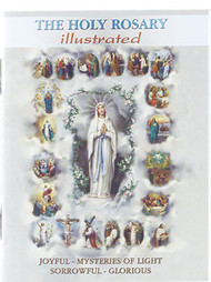 "4"" x 6"" Booklet ""The Mysteries of the Rosary."" Booklet has 32 pages. Booklet has the beautiful Bonella artwork and Gold stamped cover."