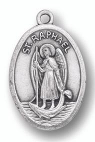 Saint Raphael Silver Oxidized Medal