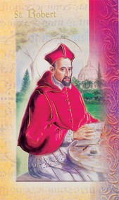 """The Biography of Saint Robert Folder. Folder is a 2 Page Biography that inludes St Robert's  name meaning, his  attributes, a prayer to St Robert and his feast day.  Biography Folder is gold stamped Italian art. Folder measures 5.375"""" X 3.25""""."""