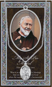 """Padre Pio 1.125"""" Genuine Pewter Saint Medal with Stainless Steel Chain. Silver Embossed Pamphlet with Patron Saint Information and Prayer Included.   (3.25""""x 5.5"""")"""