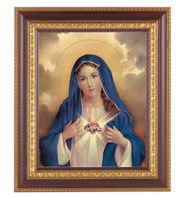 "11"" x 13"" Immaculate Heart of Mary Framed Artwork. Frame is a detailed cherry wood with a gold edging."