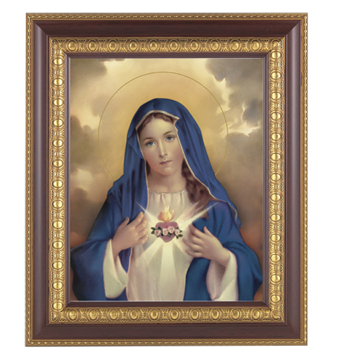 """11"""" x 13"""" Immaculate Heart of Mary Framed Artwork. Frame is a detailed cherry wood with a gold edging."""
