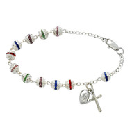 "7 1/2""L,  6 MM Multicolor Capped Glass Beads Bracelet. Bracelet has a Miraculous Medal and a Crucifix Charm attached. Available in Sterling Silver or Rhodium Plated Pewter. Please make selection in options box. Made in the USA."