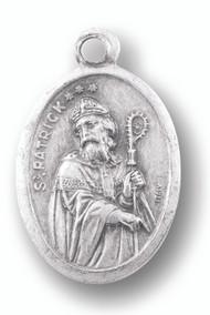"St Patrick Silver Oxidised Medal. 1""H x 1/2""W"