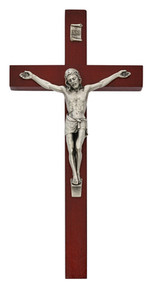 "10"" cherry painted wood crucifix with a silver oxidised corpus and INRI. Comes Bagged. Made in the USA."