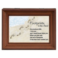 """Footprints in the Sand"" Brown Wood Wind up Music Box. Music Box plays ""Nocturne"". Saying reads: ""My Precious Child, I love you and would never leave you. When you see only one set of footprints, It was then that I carried you."" Measurement: 8""L X 6""W X 3""H. Made of Plastic and Metal."