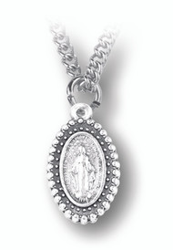 """1"""" Beaded Miraculous Medal with 18"""" Chain. Silver Oxidised"""