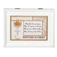 """Baptized in Christ"" White Wood Wind up Music Box. Music Box plays ""What a Friend We Have in Jesus"". Saying reads: ""May God's love surround you, May He wrap you in His arms, May you grow in faith with Jesus, May He keep you from all harm."" Measurement: 8""L X 6""W X 3""H. Made of Plastic and Metal."