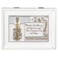 """My First Holy Communion"" White Wind up Music Box. Music Box plays ""Ave Maria"". Saying reads: ""May the Lord bless you and keep you on your First Communion Day and always."" Measurement: 8""L X 6""W X 3""H. Made of Plastic and Metal."