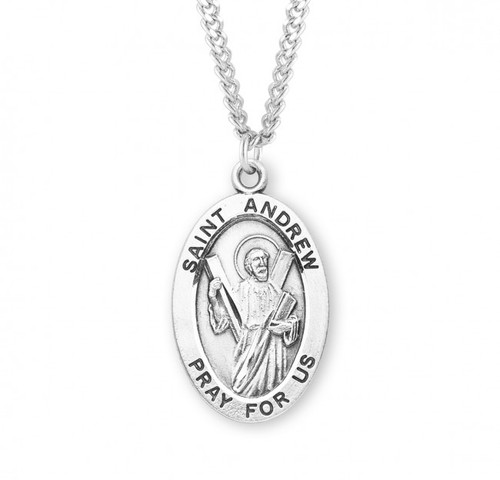 """Patron Saint of Fishermen and Sailors. Large oval St Andrew medal is .925 solid sterling silver. St Andrew medal comes on a 24"""" genuine rhodium plated endless curb chain.  Dimensions: 1.1"""" x 0.7"""" (27mm x 17mm). Weight of medal: 2.8 Grams. Comes in a deluxe velour gift box. Engraving option available.  Made in USA"""