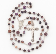 """Imperial Jasper Blue Freshwater Pearl Rosary-Rosary with 6mm freshwater pearls. Detailed Miraculous Centerpiece with a fancy 1-7/8"""" sterling Crucifix. Rhodium plated brass findings. Comes with a deluxe velour gift box. Made in the USA."""