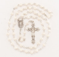 """White Freshwater Pearl Rosary - Rosary with 6mm freshwater pearls. Detailed Miraculous Centerpiece with a fancy 1-7/8"""" sterling Crucifix. Rhodium plated brass findings. Comes with a deluxe velour gift box. Made in the USA."""