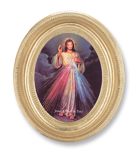 """The image of Divine Mercy Italian God Stamped Print under glass.  The Divine Mercy Print  in a  4"""" x 4 3/4""""  oval frame with gold leaf under glass."""