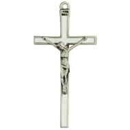 """5"""" White enamel and silver crucifix. White enameled Cross has a silver oxidised corpus and INRI. Comes Bagged. Made in the USA."""