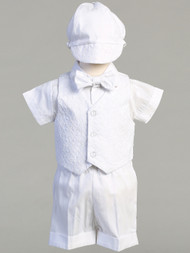 Diego ~ White cotton vest and poly cotton short set. Vest is embroidered. Diego Christening Set comes with a clip on bow tie and hat! Sizes : 0-3m, 3-6m, 6-12m, 12-18m, & 18-24m, 2T and 3T. Made in USA.