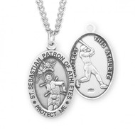 """Sterling Silver Saint Sebastian Baseball Oval Medal-Pendant. Patron Saint of Athletes.   Front of medal shows St Sebastian while the back of the medal shows a baseball player. St. Sebastian sterling silver medal comes on a  24"""" Genuine rhodium plated endless curb chain. Dimensions: 1.1"""" x 0.7"""" (27mm x 17mm)  Weight of medal: 3.7 Grams.  Deluxe velvet gift box is included. Made in USA."""
