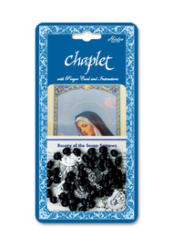 """Seven Sorrows Deluxe Chaplet with Black Wood Beads.  Packaged with a Laminated Holy Card & Instruction Pamphlet. Overall 6.5"""" x 3.5"""""""