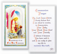 Clear, laminated Italian holy card.  Laminated Holy Card Features World Famous Fratelli-Bonella Artwork.  Measures 2.5'' x 4.5''