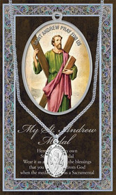 """St Andrew is the Patron Saint of  Scotland and of Russia. A 1.125"""" Genuine Pewter Medal with Stainless Steel Chain. Gold Embossed Prayer Card included with short biography of the saint included. (3.25""""x 5.5"""")"""