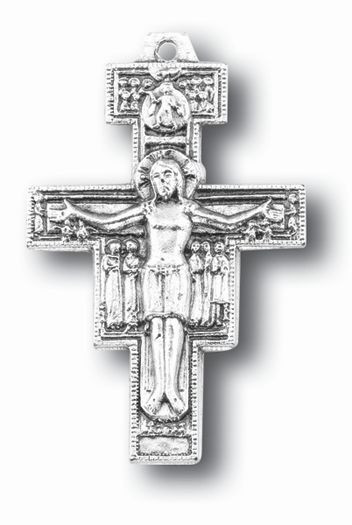 """1.625"""" Silver Oxidized San Damiano Cross. Over 800 years ago, in a remote church called San Damiano near Assisi, Italy, a young man knelt before an old, Byzantine style Crucifix. The young man would come to be known as  Saint Francis of Assisi and the Crucifix was the San Damiano Cross."""