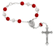 8MM Red and White Pearl Glass Beads Carded Auto Rosary. Auto Rosary has a silver ox crucifix and center. Comes carded. Made in Italy