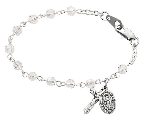 """Crystal Beads with rhodium crucifix and Miraculous Medal. Bracelet measures 5 1/2"""" in length. Comes in a gift box. Made in the USA"""