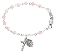 """4mm Pink Glass Beads Baby Bracelet.  Bracelet has a sterling silver or rhodium Crucifix and Miraculous Medal. Bracelet measures 5 1/2"""" in length. Comes in a gift box. Made in the USA"""