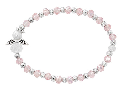 Pink and Silver Beads Baby Bracelet with Angel Charm.  Bracelet is a stretch bracelet. Comes in a gift box. Made in the USA
