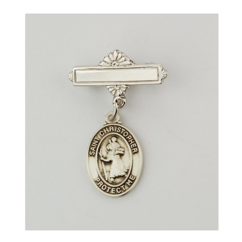 Sterling Silver St Christopher Baby Bar Pin. St Christopher Baby Bar Pin is made of .925 Sterling Silver.  Engraving on bar available. Comes in a deluxe velour gift box. Made in USA.