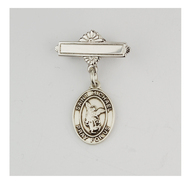 Sterling Silver St Michael Baby Bar Pin. St Christopher Baby Bar Pin is made of .925 Sterling Silver.  Engraving on bar available. Comes in a deluxe velour gift box. Made in USA.