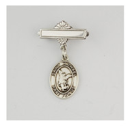 Sterling Silver St Michael Baby Bar Pin. St Michael Baby Bar Pin is made of .925 Sterling Silver.  Engraving on bar available. Comes in a deluxe velour gift box. Made in USA.