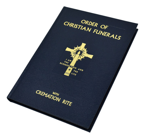 """Blue Leather Edition - The Order of Christian Funerals (with Cremation Rite) contains texts for The Vigil and related rites and prayers, the Funeral Liturgy, Rite of Committal, Funeral Rites for Children, as well as texts for Scripture Readings, the Office for the Dead, and additional texts. This liturgical book for Catholic funerals also includes the material from Appendix 2: Cremation (except for """"Reflection""""), approved and published in 1997. The Order of Christian Funerals (with Cremation Rite)is attractively bound in durable blue cloth with colored edges or blue leather cover with gold gilded edges. Also includes the material from Appendix 2: Cremation (except for """"Reflection""""), approved and published in 1997. Size: 7 1/4"""" x 10 1/4"""" ~ 416 pages"""