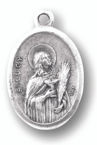 Saint Lucy Silver Oxidized Medal. Patron of Eyesight, the Blind