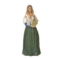 """St Dymphna Figure from the Patrons and Protector Series. Statue dimensions are 3.75""""H X 1.5""""W and is made of resin. St. Dymphna is known as the Lily of Éire and is the patron saint of the mentally illness and anxiety"""