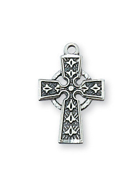"""Sterling Silver  Celtic Cross Pendant  with 16"""" rhodium plated chain. Comes gift boxed. Made in the USA"""