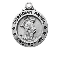 """5/8""""D Sterling Silver Guardian Angel Pendant. Guardian Angel pendant comes on an 18"""" rhodium plated chain. Medal presents in a deluxe gift box."""