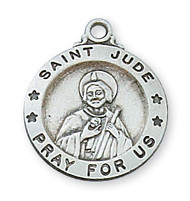 """5/8""""D Round Sterling Silver St Jude Medal with a 18"""" genuine rhodium plated chain. Medal comes in a deluxe velour gift box. Made in the USA. Engraving option available"""