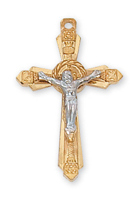"""1"""" Gold and Sterling Silver Two Toned Crucifix and Chain. Crucifix comes on an 18"""" Rhodium Plated Chain. A deluxe gift box is included. Made in the USA!"""