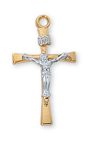 """Tutone Sterling Silver Crucifix. 1"""" Sterling Silver Crucifix comes on an 18"""" rhodium plated chain. Crucifix comes boxed and is made in the USA"""