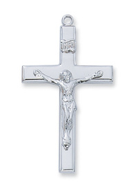 """Sterling Silver Crucifix. 1 1/2""""L Sterling Silver Crucifix comes on an 18"""" rhodium plated chain. Crucifix comes boxed and is made in the USA"""