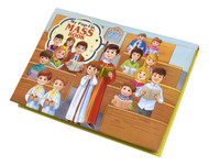 """The bright, vibrant, and eye-catching illustrations in this book will """"pop"""" off the pages to delight little children as they learn what happens during Mass.  They can follow along as these parts of the Mass take place: the beginning of Mass the reading of the Gospel the presentation of gifts to the Priest the elevation of the Host during the Consecration the praying of the Our Father the reception of Communion This colorful book provides children with a gentle introduction to the Mass."""