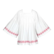 """Red Banded Surplice, 110B, has a cross design orphrey and comes in several colors. Choose Round or Square Yoke. Style 110B is 6"""" longer than Style 113B/115B.  Banded items are non returnable!"""