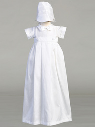 Poly bengaline romper with bow tie and detachable gown. Hat is included.
