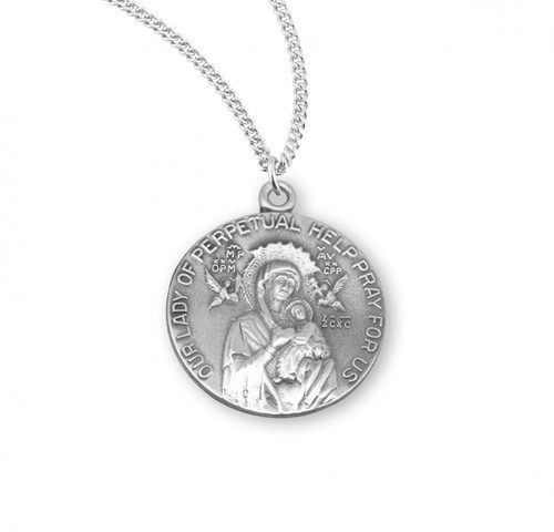 """Our Lady of Perpetual Help Round .925 Sterling Silver Medal.  Dimensions: 0.9"""" x 0.7"""" (22mm x 19mm).   Weight of medal: 3.9 Grams. medal comes on an 18"""" Genuine rhodium plated curb chain.  Made in USA. Deluxe velvet gift box included. Engraving available"""