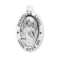 """Guardian Angel .925 Sterling Silver Oval Medal.  Dimensions:  1.1"""" x 0.7"""" (27mm x 17mm).  Weight of medal: 2.8 Grams. Medal comes on an 24"""" genuine rhodium plated curb chain.  Made in USA. Deluxe velvet gift box included. Engraving available."""
