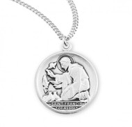 """St. Francis .925 Sterling Silver Oval Medal.  Dimensions:  0.8"""" x 0.7"""" (21mm x 18mm).   Weight of medal: 3.4. Medal comes on a 20"""" genuine rhodium plated curb chain.  Made in USA. Deluxe velvet gift box included. Engraving available."""