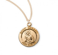 """Saint Gerard round medal-pendant. Gold over solid .925 sterling silver. Detail depicts him holding the Infant Jesus. Saint Joseph is the Patron Saint of Pregnancy and Safe Deliveries Dimensions: 0.8"""" x 0.6"""" (18mm x 15mm) Weight of medal: 2.1 Grams. 18"""" Genuine gold plated curb chain. Made in USA. Included-gift box."""